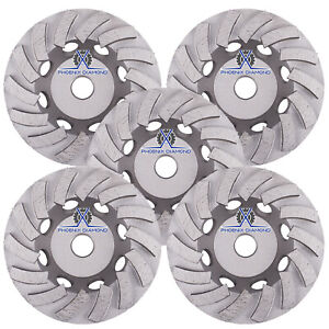 5pack 7 Turbo Diamond Grinding Cup Wheel For Concrete 24 Segs 5 8 11 Threads