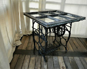 Vintage The Free Sewing Machine Treadle Table Antiqued Multi Pane Window Top