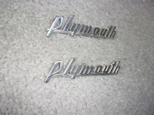 1939 41 Plymouth Hood Side Nameplates Or Scripts Nice Pair