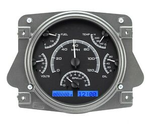 1966 77 Ford Bronco Dakota Digital Black Alloy Blue Vhx Gauge Kit