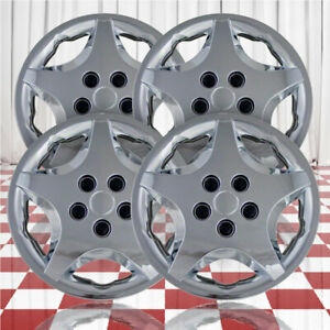 14 Push On Chrome Hubcaps For 2000 2005 Chevy Cavalier Qty Four