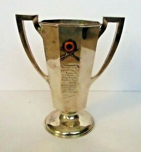 Antique Italian National Rifle Association Sterling Silver Trophy Loving Cup Ny