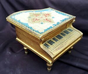Vintage Florentine Grand Piano Figural Music Box Trinket Jewelry Box Japan Wow