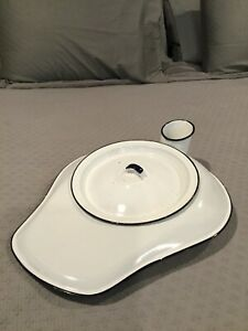 White Black Porcelain Enamel Bed Pan Urinal Lid Chamber Pot Theater Movie Prop