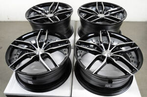 19 5x114 3 Staggered Black Wheels Fits Mustang 350z 370z G35 G37 Isf 5 Lug Rims