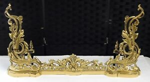 Vintage Art Deco Style Signed Sunset Brass Wrought Iron Fireplace Fender Guard