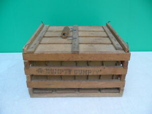 Early 1900s Primitive Americana Antique Humpty Dumpty 1 2 Size Wood Egg Crate