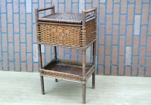 C1900 Arts Crafts Heywood Wakefield Wicker Rattan Sewing Box Stand Basket