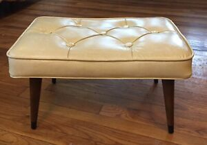 1960 S Ivory Antique Mid Century Modern Furniture Footstool Ottoman Pencil Legs