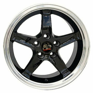 17 Black W Mach D Lip Wheel Mustang Cobra R Deep Dish Style Rim 24mm Offset