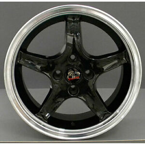 17 Black W Machined Lip Wheel Mustang Cobra R Deep Dish Style Rim 17x8