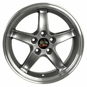 17 Gunmetal W Machined Lip Wheel Mustang Cobra R Deep Dish Style Rim 17x9