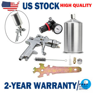 2 5 Mm Hvlp Spray Gun Auto Paint Gravity Feed W Gauge Metal Flake Primer Nozzle