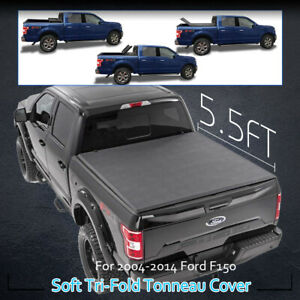 For 2004 2014 Ford F 150 5 5ft Soft Bed Tri Fold Rear Tonneau Cover