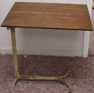 Industrial Age Desk Drafting Table Cast Iron Wood Articulating Artist Steampunk