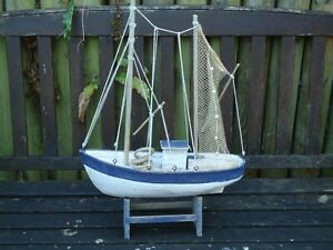 Large Trawler Wooden Fishing Boat With Nets On Stand Nautical Ship Model