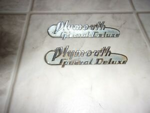 1940 Plymouth Special Deluxe Hood Side Emblems Nice Pair