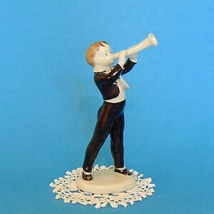 Vintage Hungarian Hollohaza Art Deco Porcelain Trumpet Boy Marked Handpainted