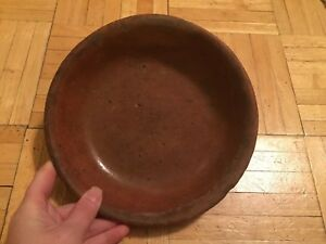 18th To Early 19th Century Pa Redware Dish W Glazed Interior Early Prim Piece