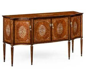 French Elegant Mother Of Pearl Inlaid Burl Marquetry Sideboard Buffet 68 X38 H