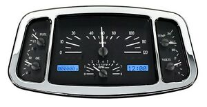 1933 34 Ford Coupe Roadster Dakota Digital Black Alloy Blue Analog Gauge Kit