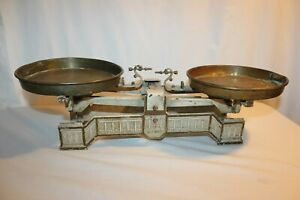 Antique Vintage Art Deco Cast Iron Balance Scale Copper Pans Baker Kitchen Metal