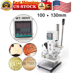 100 130mm Digital Hot Foil Stamping Machine 110v Leather Embossing Bronzing Us