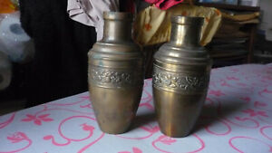Antique Art And Craft Brass Vases 1930 Unis Paris France