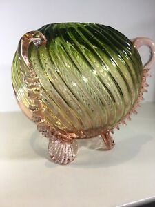Stevens And Williams Rose Bowl Art Glass Pink With Narrow Spiral Panel