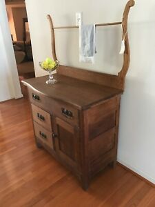 Antique Oak Washstand With Drawers And Towel Rack Original Hardware