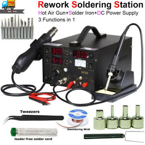 3in 1 Rework Station Soldering Kit W Hot Air Gun Solder Iron Dc Power Supply Us