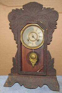 Antique Vintage New Haven Mantel 8 Day Clock Parts Project J0713