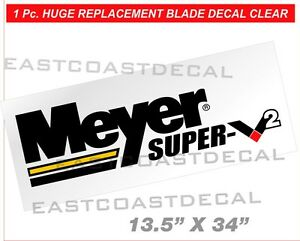 Meyer Super V2 Snow Plow Decal New Clear V 2 Front Blade Replacement Large Msv2