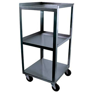 Utility Cart 3 shelves Stainless Steel 14x14x30in Food Service Mobile Storage