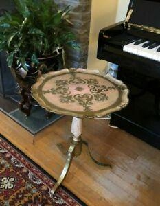 Vintage Trade Mark Made Italy Wood Gold Deco Tea Coffee Table Sofa Side