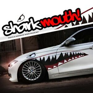 2 Shark Mouth Car Auto Decal Bomb Sticker Bodykit Suv Truck Van Tuning Styling