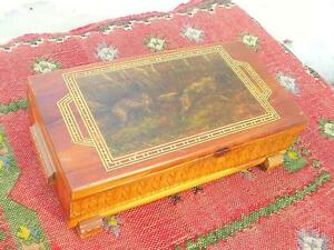 Cedar Wood Carved Jewelry Box With Decoupage English Setters Dog Hunting Scene