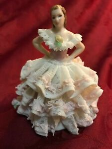 Irish Dresden Muller Volkstedt Porcelain Lace Figurine Lady Pink Ruffled Dress