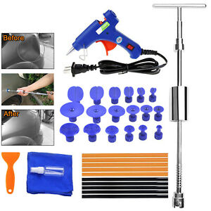 Paintless T Bar Slide Hammer Glue Puller Tabs Auto Body Dent Removal Kit A41