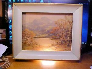 Vintage Lighted Shadowbox Picture Metal Frame Mountain Scene 18x15x3