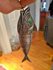 Lg Solid Sterling Silver Articulated Fish Museum Quality Silver Work