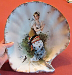 Antique Porcelain Large Shell Shaped Plate With H P Maiden And Birds