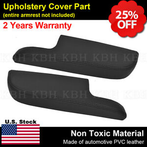 Fits 11 19 Dodge Charger 2pcs Door Panel Armrest Cover Synthetic Leather Black