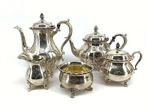 Wilcox International Silver Silverplate Coffee Tea Service Shabby Roses
