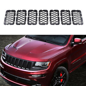 Fit 2017 2019 Jeep Grand Cherokee Black Abs Front Grille Trim Insert Grill Guard