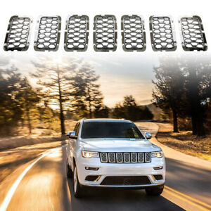 Fits 2017 2021 Jeep Grand Cherokee Chrome Front Grille Trim Insert Grill Guard