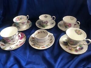 Lot 6 Tea Cups And Saucers Bone Fine Bone China Vintage