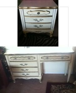 Vintage Sears Or Broyhill French Provincial Desk Night Stand Drawers White Gold