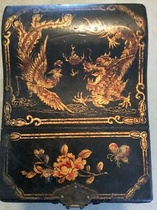 Antique Chinese Hardwood Jewelry Cosmetic Box Chest W Mirror Hand Painted