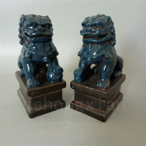 Chinese Old Pair Blue Glazed Porcelain Foo Dogs Statue Ceramics Ornament Collect